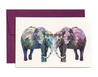 Elephants Card, Love Birds, Blush, Engagement Card, Wedding Cards, Anniversary Card, Wedding Gift, Weddings, Valentines Card, Valentines