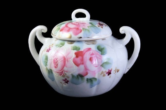 Covered Sugar Bowl, Pink Rose Pattern, White with Gold Trim, Porcelain
