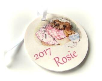 Mrs Tiggy-Winkle Christmas Ornament - Custom Tree Decoration Beatrix Potter - Xmas Tree Ornament Handmade - Australian Made- Kids decoration