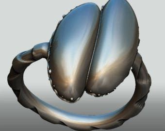 Szteluíngsilver ring Coco de mer  – sterlingsilver – gift – eroticjewelry – yoni – vulva – femineity