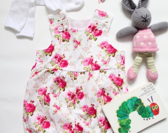 Floral Baby Romper in Summer Rose