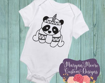 Panda in Boho Style, Color Me Oneise Bodysuit or Toddler, Youth Shirt
