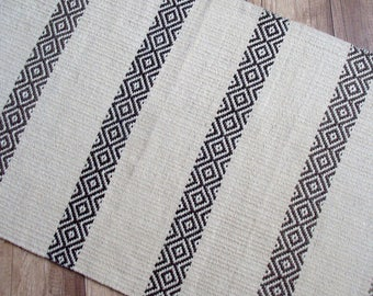 Eco-friendly handmade organic wool rug in natural white and brown colors -  white handwoven wool rug with brown pattern stripes