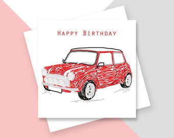 Red Mini Happy Birthday greetings card