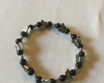 Black and silver  butterfly natural stone bracelet