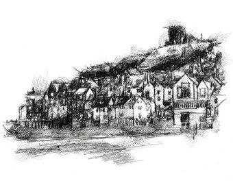 Whitby | Limited edition fine art print from original drawing. Free shipping.