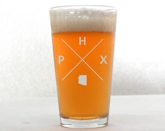Phoenix Glass | Phoenix Pint Glass - Beer Glass - Pint Glass - Beer Glasses - Pint Glasses - Beer Mug - Phoenix Arizona
