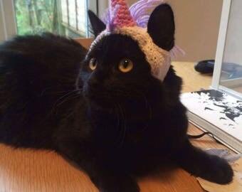 Knit Unicorn Cat Hat • Knit Cat Hat • Halloween Cat Costume • Unicorn Hat
