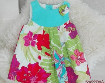 Baby girl summer dress in turquoise printed flower