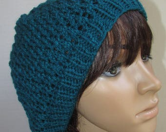 Lacy Knit Slouchy Beanie in Dark Teal