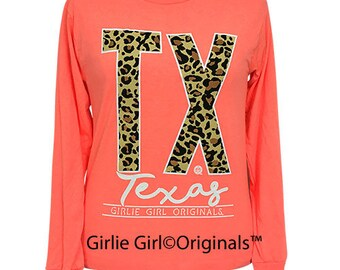 Girlie Girl Originals Leopard Texas Long Sleeve Retro Heather Coral T-Shirt
