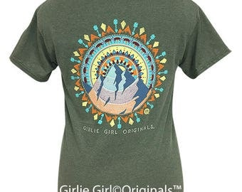 Girlie Girl Originals Mountain Mandala Green Short Sleeve T-Shirt