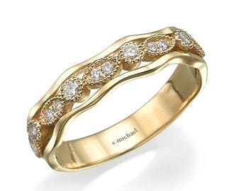 Art Deco Diamond Wedding Band, Engagement band, Wedding band, Wedding rings, Diamond band, Unique band, Band rings, Yellow gold bands