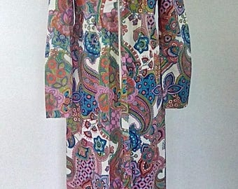 summer sale Vintage maxi dress 1970's floral paisley Cotton dress Maxi Dress Small