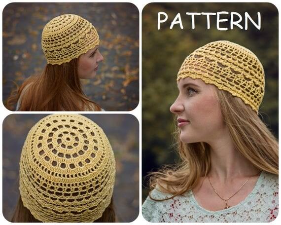 Summer crochet beanie pattern diy crochet hat for women womens summer crochet beanie pattern diy crochet hat for women womens hat pattern diy lace crochet hat pattern cotton boho hats pattern from itwasyarn on dt1010fo