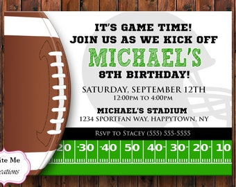 Football Birthday Invitation, Football Invite, Sports Invitation, Sport Invite, Touchdown Invite, Helmet Invitation, Football Theme Party