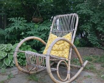 Franco Albini Style Rattan Rocker. Boho Modern Bentwood, Bamboo Rocking Chair.