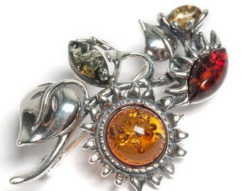 Henryka Amber and Silver Sunflowers Brooch