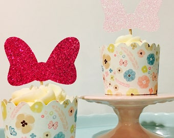 12ct Minnie bow cupcake toppers, 12ct Minnie cupcake toppers, bow cupcake toppers
