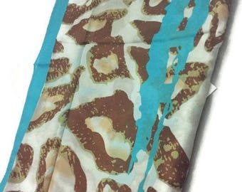 Silk Scarf, Silk Wrap,Turquoise, Brown and Yellow Colors on White 72 x 33 inches