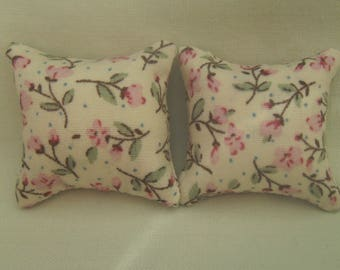 1/12th Scale Dolls House Cushions White: Pink Flowers