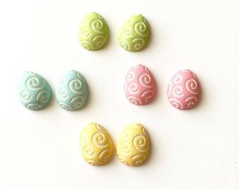 Easter Egg Earrings, Easter Egg Stud Earrings, Carved Egg Earrings, Easter Jewelry, Pink Egg, Blue Egg, Green Egg, Yellow Egg, Pastel Color
