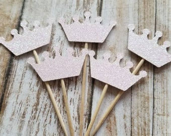 Crown Cupcake Toppers... Baby Girl... First Birthday Party... Announcement...