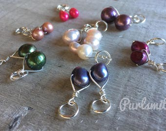 Anne Mix- Freshwater Pearl and Sterling Silver Stitch Markers for Knitting, Set of 6, Choice of Color