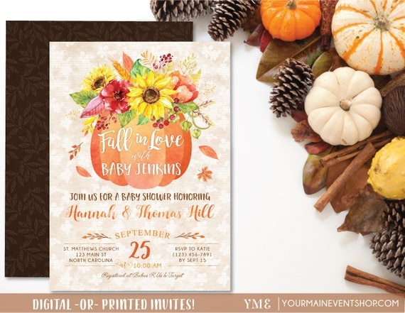 Fall Pumpkin Baby Shower Invitation, Fall In Love Baby Shower Invite, Burlap Autumn Shower, Neutral A Little Pumpkin Is On The Way
