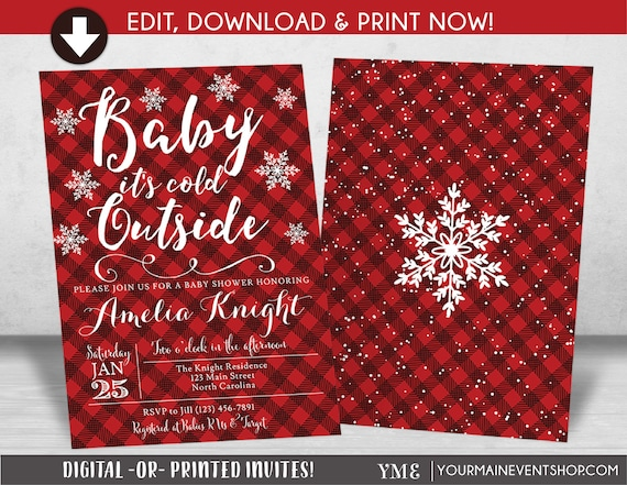 Baby It's Cold Outside Baby Shower Invitation, Plaid Flannel Lumberjack Snowflake Invite, Winter Wonderland, Christmas Baby Shower