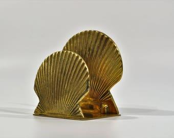 Solid Brass Shell Napkin Holder/Mail holder/ Letter Holder/Retro Mid century modern  Mail/Letter holder/Office/library decor/deck organiser