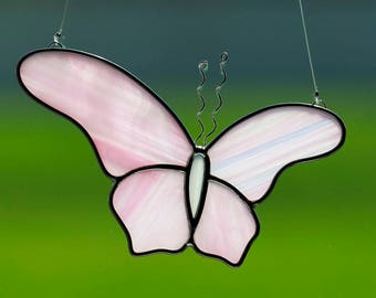 Stained glass pink butterfly suncatcher, stain glass pink butterfly ornament, butterflies