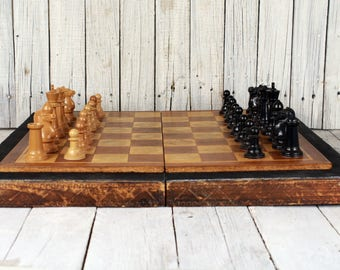 Large wooden chessboard game, Backgammon, Chess set, Folding chess, Game board set, Chess, Chess game, Vintage chess, Chess & Backgammon