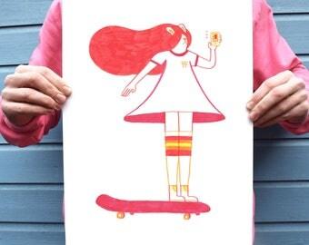 Skateboarding rabbit, red art print, cool illustration print, A3 print, A4 print, colourful, skating, rad, bunny, skating, fun, cute, kawaii