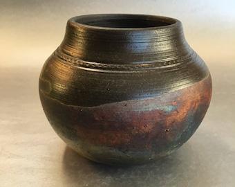 "4"" Vintage Raku Art Pottery Vase Bowl Signed"