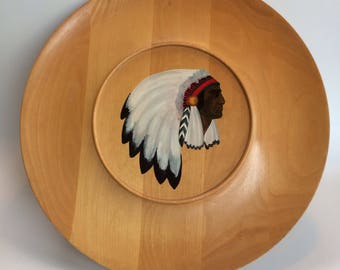 Vintage 50's Serving Plate Native Hand Painted
