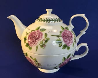 Portmeirion Roses Individual Nesting Porcelain Teapot and Cup England