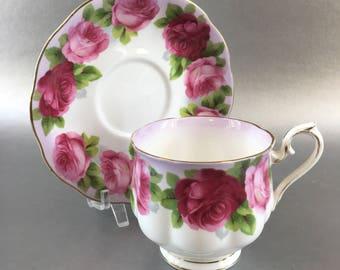 Royal Albert Old English Rose Bone China Tea Cup and Saucer England