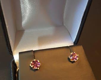 14K Gold Stud Earrings, Vintage Pink Amethyst 14k Gold Earrings