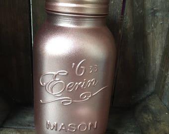Handfinished Rose Gold Painted Glass Mason Jar