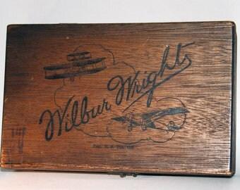 1920s Era Wilbur Wright Cedar Wood Cigar Box -- Free Shipping