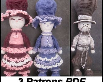 "2 PDFCrochetPattern""Lilly Loulap & Mister Loulap"""