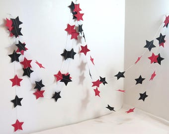 Garland of stars, red/black color, length 250 cm approx.