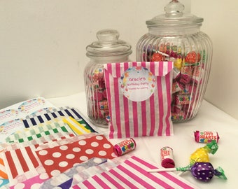 12 x Personalised Candy Sweet Children's Birthday Bags