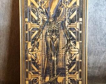 Xenomorph Alien Poster Gift for Him, Giger Art, Wood Etched, Custom Gift for Mens, Movie Room Decor, Cinema Lover Art Gift, Engraved Wood