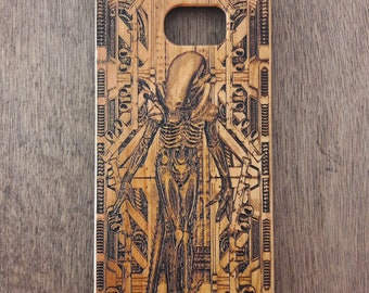 Xenomorph, Alien Phone Case, Wood Iphone Case, Wood Samsung Galaxy S6 S7 S8 Plus Cover, Engraved iPhone 6 7 8 Plus, iPhone X, iPhone 5 SE