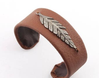 4th july 1 PC Pave Diamond lEAF Brown Leather Adjustable Bracelet - 925 Sterling Silver Leaf Adjustable Bracelet Size : 3 BD032