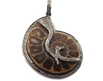 Christmas Sale 1 Pc Pave Diamond Ammonite Fossil 925 Sterling Silver Charm Pendant 46mmx37mm PD870