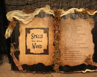 "Harry Potter Book ""Spells for your Wand"", Harry Potter Spell Book, Harry Potter decor, Harry Potter party, Harry Potter wand, spells, unique"