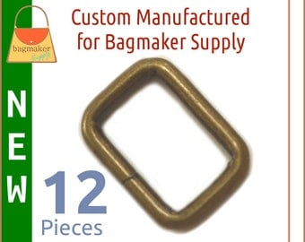 "3/4 Inch Rectangle Rings, Antique Brass Finish, 12 Pack, Purse Handbag Bag Making Hardware, .75 Inch, 3/4"", Rectangular, RNG-AA365  New Item"